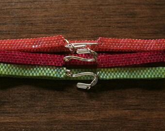 Tropical (Bright Pink, Neon Orange, Key Lime Green) Peyote Bracelet Set - Three Pieces