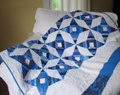 Modern Vibrant Blue and White Star Quilt