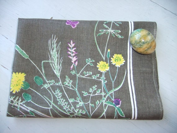 Vintage Swedish Beautiful printed 1960s tablecloth in gray linen