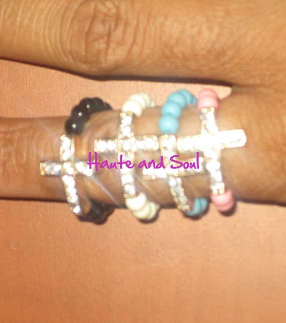 Love and Hip Hop New Beaded  Crystal Cross Ring