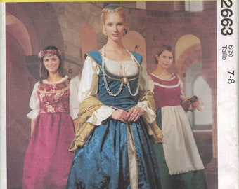 McCall's Costume Sewing Pattern 2663 - Girls' Elizabethan Dresses (5-6, 7-8)