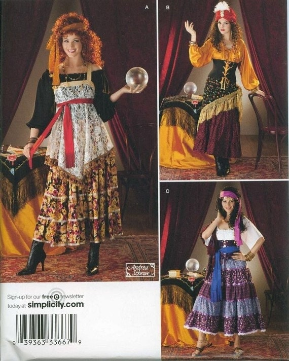 Simplicity Costume Sewing Pattern 0808 (aka 2331) - Misses' Gypsy Costumes (6-12, 14-22)