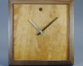 Cherry Veneer And Walnut Wood Wall / Mantle Clock 10 Inches Square