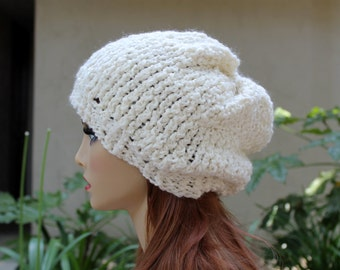 Hand Knit, Cream/Off White, Acrylic/Wool Blend, Slouchy Beanie Hat for Women or Men Fall Winter