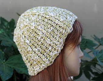 Hand Knit, 100 Percent Organic Cotton, Light, Olive Green and Cream, Rib Knit Beanie Hat for Women and Men Spring Summer Fall Winter