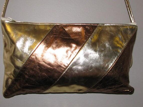 STUDIO 54 // Vintage METALLIC Leather Purse 70's 80's GOLD Bronze Silver