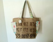 "Salvaged Coffee Burlap (Medium) with Side Pockets Bright Owl Print with Red and White Stripes ""Certified Bio Latin"""