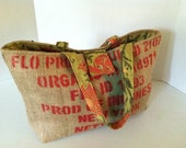 "Coffee Bag Burlap Tote (Large) ""Product of Indonesia""  Paprika Print with Olive and Orange Floral Fabric"