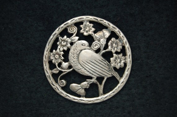 Vintage DANISH STERLING Dove Brooch In the style of Georg Jensen