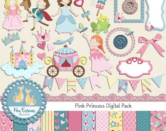 Pink Princess Digital Clipart and Paper Combo- Scrapbooking , card design, invitations,  paper crafts, web design - INSTANT DOWNLOAD