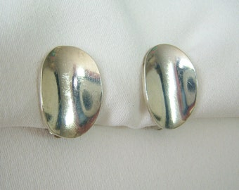 Mexican silver cupped oval earrings
