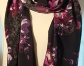Black and Deep Purple Floral Print Chiffon Fabric Fashion Scarf