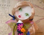 Bella Rose - Butterfly Healing Faerie Doll with Golden Yellow Rose - One of a Kind