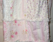 Special Order for Michelle, Queen sized Ragged Lap Quilt, Beach Cottage, Country Chic and Shabby Style colors