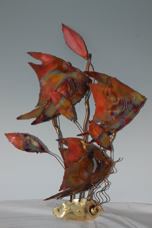 School of copper angle fish metal sculpturewall artmetal for Fish wall sculptures