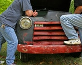 Fine Art Automotive Photography Vintage Red Gray Truck Chevy Still Life Color, Talking Shop 8x10