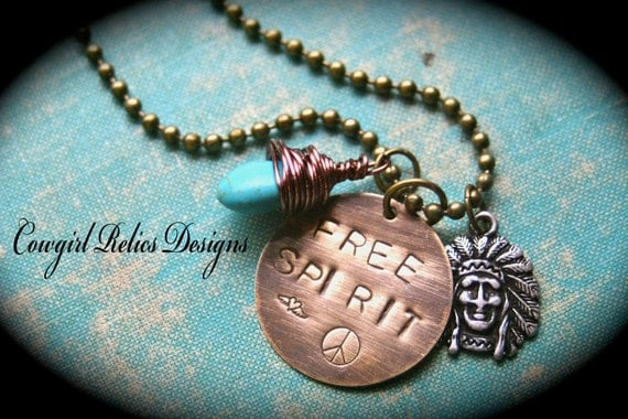 Free Spirit Rustic Western Cowgirl Charm Necklace