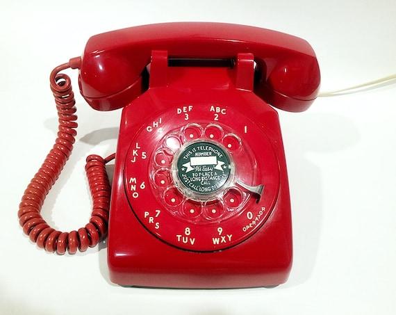 WORKING- Red Rotary Phone Telephone