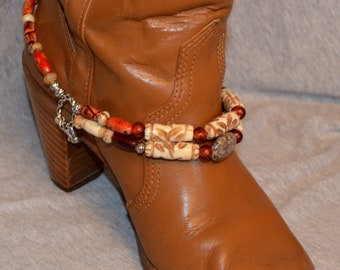 Boot Bracelet of Carved Bone, Agate and Horn Beads