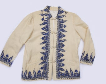 Vintage Embroidered Jacket with Full Satin Lining