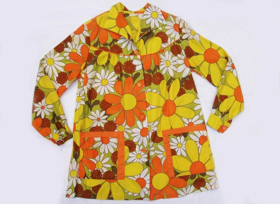 Trippy Hippy 1960s Groovy Flower Power Artist Smock Button Tunic