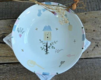 Vintage Hand Painted and Signed Gardening-Themed Ceramic Bowl
