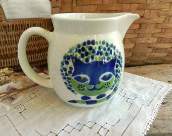 Vintage Kaj Franck Arabia Ceramic Cat Pitcher, made in Finland
