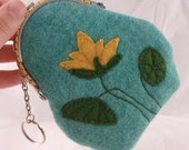 Metal kiss-lock framed Wool coin purse with water lotus applique