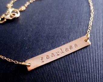 Personalized Gold Bar Necklace, Rectangle Handstamped Gold Minimalist, Bridesmaid Gift, Minimal Gold Filled, Valentines Mothers Day