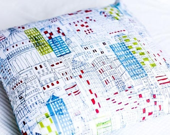 City Sketch Pillow Cover