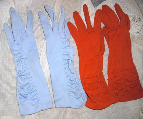 Ruched and Beaded Gloves... Need Repair .....Size 6