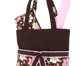 Personalized Quilted Floral 3 Piece Diaper Bag Monogrammed
