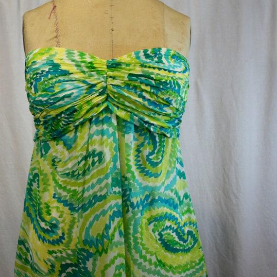 Strapless Flowing Silk Dress, Sangria, vintage 1980s-1990s, size small-medium