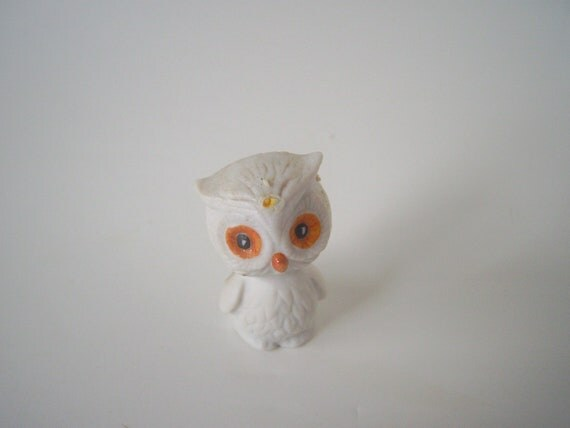 "Vintage Baby Owl Figurine, 1.5"" Tall, Porcelain"