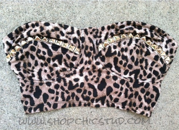Studded Bustier Top SMALL Leopard Bandeau Silver or Gold Studs