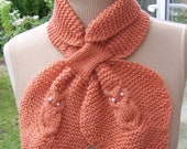Handknitted Women Owl Scarf, Bow Scarf, Vintage style scarf, Orange scarf