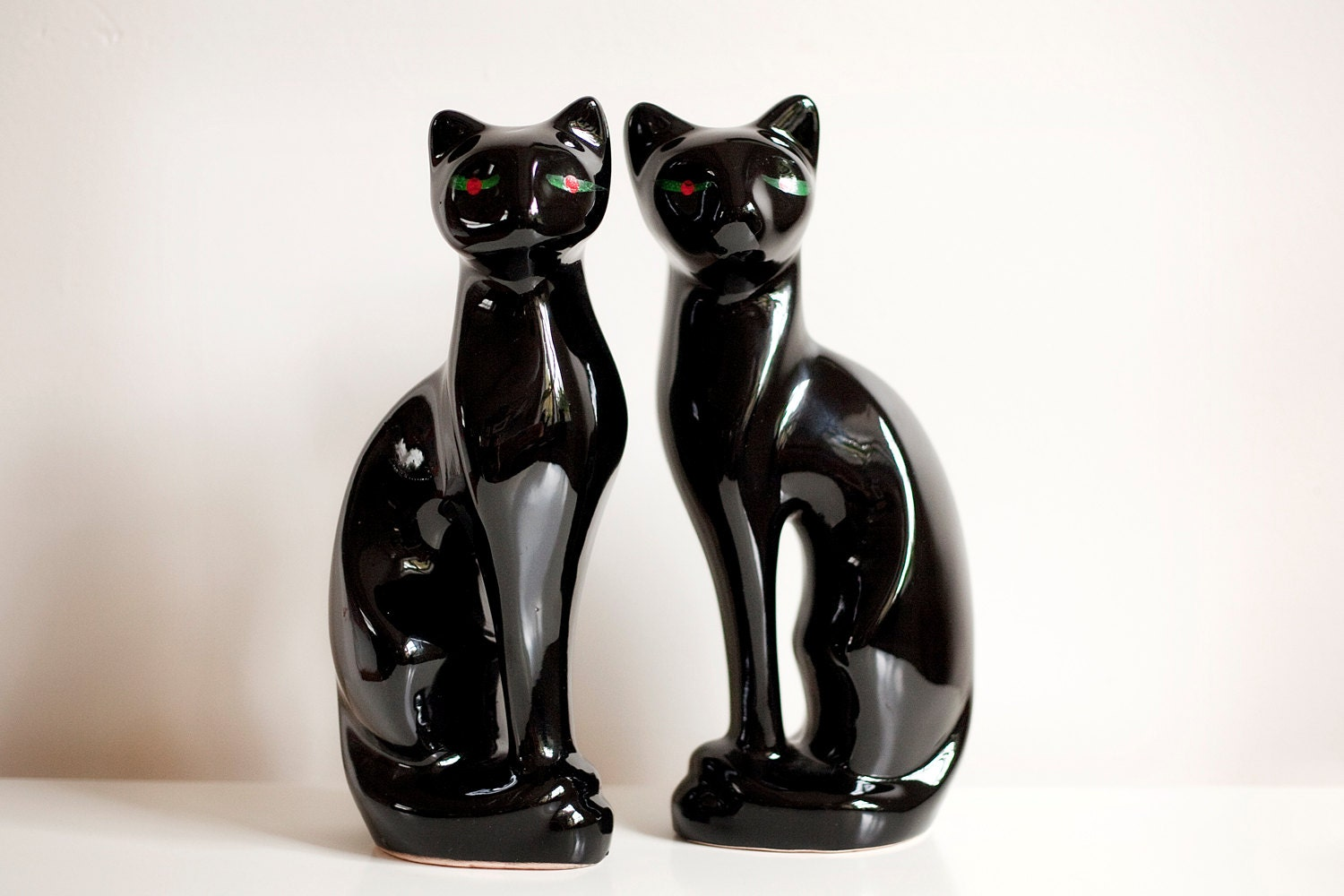 Mid Century Ceramic Black Cat Figurines By Luluvintagefinds