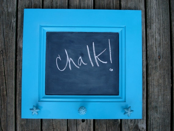 Upcycled Cabinet Door Into Chalkboard Frame With Cast Iron