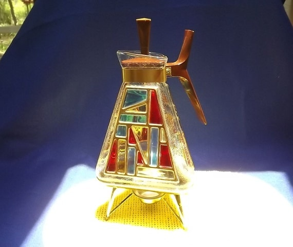 Retro Atomic Carafe Coffee Pot Stained Glass Look Mid-Century