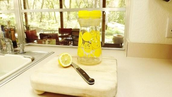 Vintage Glass Container Bottle Jar Yellow Lemon Design W/Lid