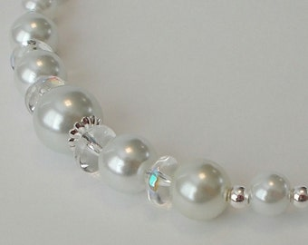 White Pearl With Luster Glass Rondell Wedding Party Necklace