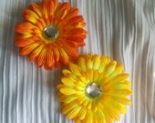 Orange and Yellow Flower Hair Clips with Large Rhinestone Centers - Set of Two - Girls, Women Hair Accessory