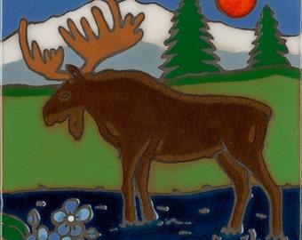 Hand painted ceramic tile Moose original art tile