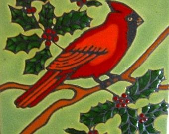 Hand Painted Ceramic Tile Red Cardinal Original Art Tile