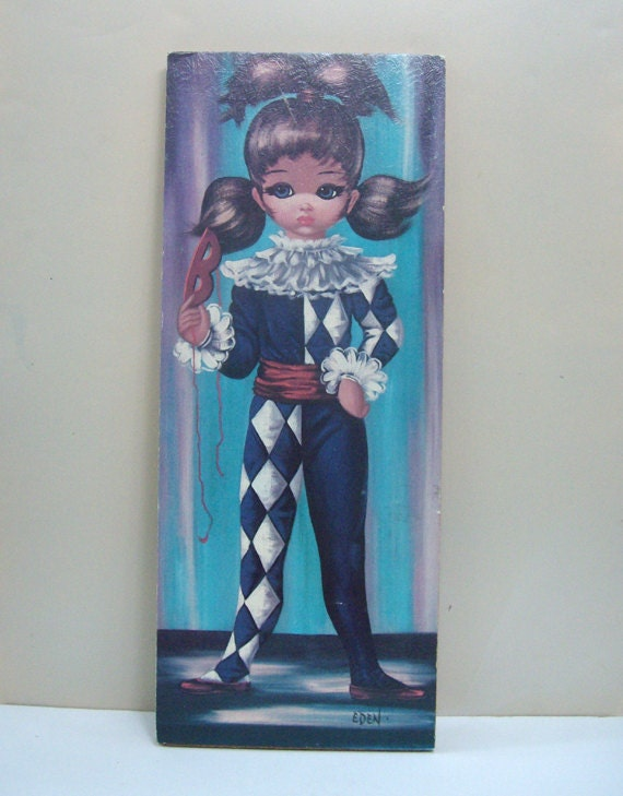 Mid Century Vintage Big Eye Girl Print by Eden 1960s