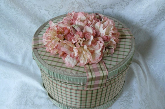 Hat Box Pretty in Pink Plaid With Silk Flowers