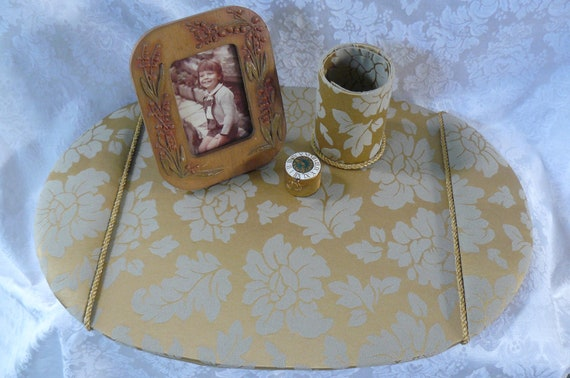 Fabric Covered Desk Blotter With Matching Pencil Cup