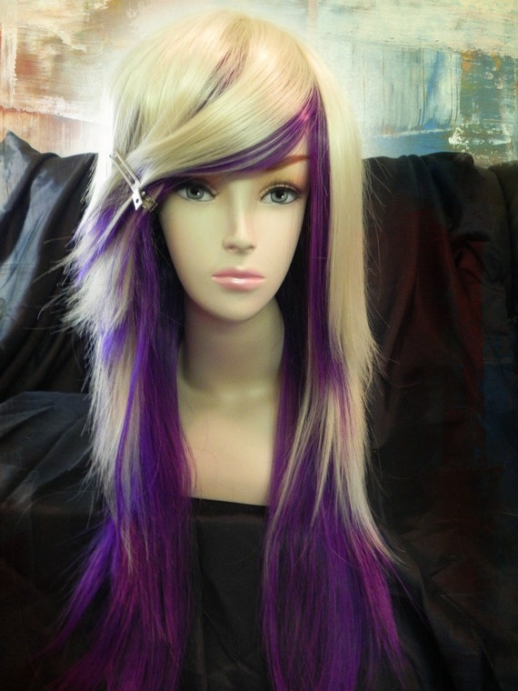 ON SALE // Purple and Blonde / Long Straight Layered Wig