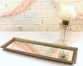 Vintage Mirrored Dresser Tray...Vanity Tray...Rectangle...Hollywood Glam...Dressing Room...Boudoir