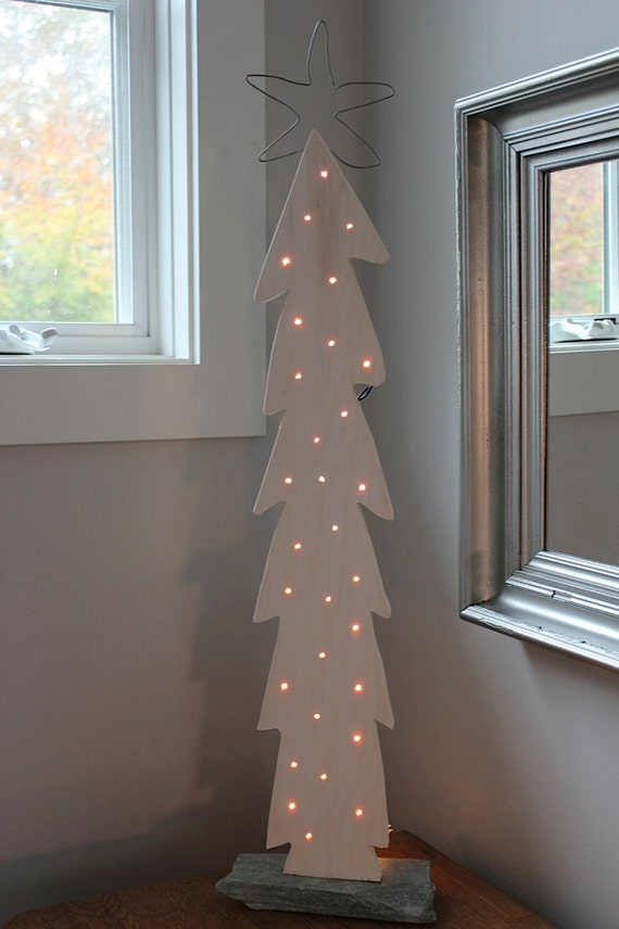 White Lighted Wood Christmas Tree With Pickled Finish By